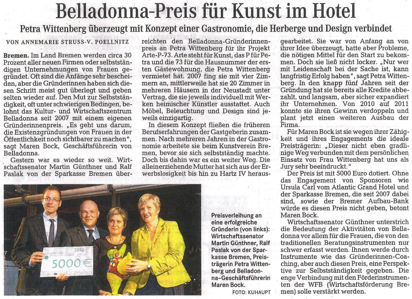Weser Kurier Artikel zur Verleihung des Belladonna Gründerinnenpreises an Petra Wittenberg für ARTE|P|73