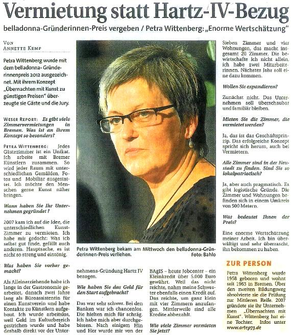 Weser Report Artikel über die Verleihung des Belladonna Gründerinnenpreises an Frau Petra Wittenberg